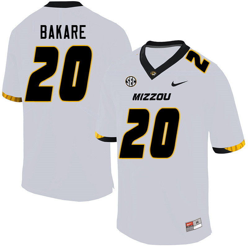 Men #20 Simi Bakare Missouri Tigers College Football Jerseys Sale-White